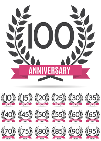 selebration: Big Collection Set of Template  Anniversary Vector Illustration