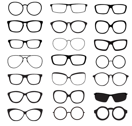 eyewear fashion: Hipster Summer Sunglasses Fashion Glasses Collection Isolated on White Vector Illustration