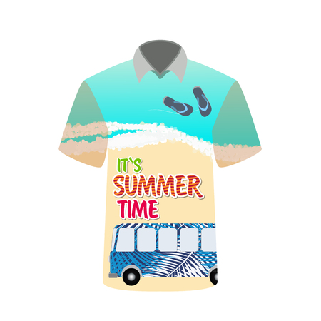 T-shirt with image of sea, bus for trip to rest. Vector Illustration.