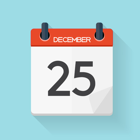 December 25 Calendar Flat Daily Icon. Vector Illustration Emblem. Element of Design for Decoration Office Documents and Applications.  Day, Date, Time, Month and Holiday.