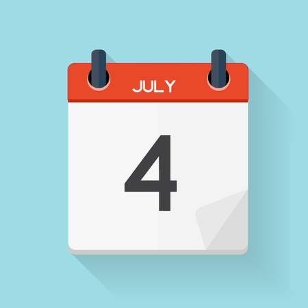 july 4: July 4 Calendar Flat Daily Icon. Vector Illustration Emblem. Element of Design for Decoration Office Documents and Applications.  Day, Date, Time, Month and Holiday.
