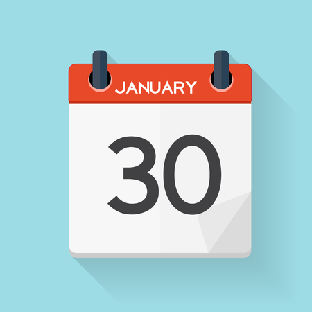 January 30 Calendar Flat Daily Icon. Vector Illustration Emblem. Element of Design for Decoration Office Documents and Applications. Day, Date, Time, Month and Holiday. Illustration