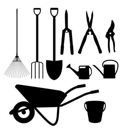 Garden Tools, Instruments Flat Icon Collection Set. Shovel, bucket, rake, secateurs, scissors, wheelbarrow and watering