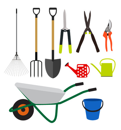 hedge: Garden Tools, Instruments Flat Icon Collection Set. Shovel, bucket, rake, secateurs, scissors, wheelbarrow and watering