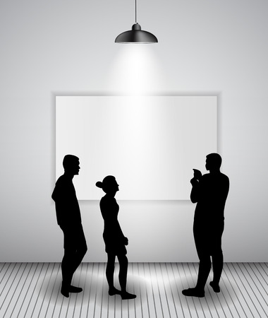 Silhouette of people in Background with Lighting Lamp and Frame look at the Empty Space for Your Text, Object or advertisement.