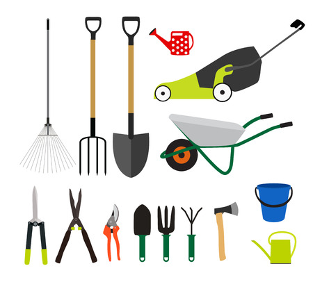 tools icon: Garden Tools, Instruments Flat Icon Collection Set. Shovel, bucket, rake, secateurs, scissors, wheelbarrow and watering Vector Illustration Illustration