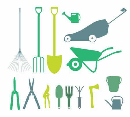 Garden Tools, Instruments Flat Icon Collection Set. Shovel, bucket, rake, secateurs, scissors, wheelbarrow and watering Vector Illustration Illustration