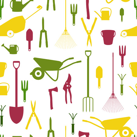Garden Tools, Instruments Flat Icon Collection Set. Shovel, bucket, rake, secateurs, scissors, wheelbarrow and watering. Seamless Pattern Background. Vector Illustration