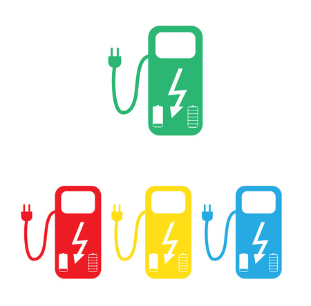 Concept Fuel Station for Electric cars on batteries. Vector Illustration.