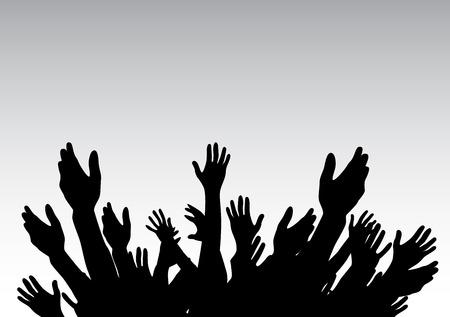 Las manos levantadas hacia arriba - símbolo de la libertad de la elección, de la diversión. Ilustración del vector.