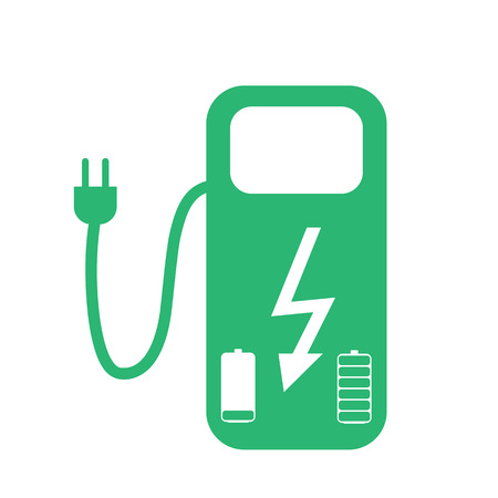 batteries: Concept Fuel Station for Electric cars on batteries. Vector Illustration.