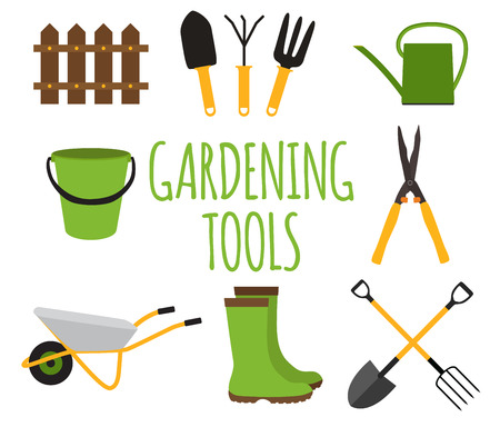 Gardening Tools, Instruments Flat Icon Collection Set. Vector Illustration Illustration