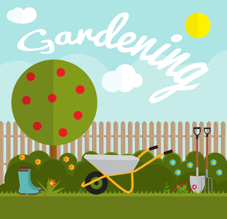 Gardening Flat Background Vector Illustration. Garden Tools, Tree, Fence and Bush on Natural Background. Illustration in Modern Flat Style.