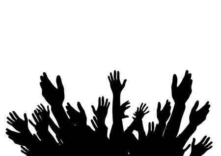 Hands Raised Up -  Symbol of Freedom the Choice, Fun. Vector Illustration.