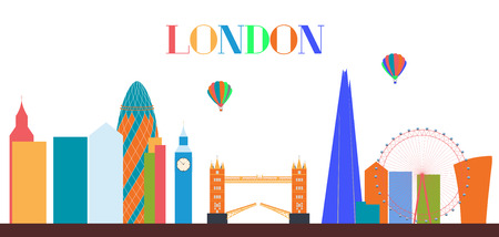 UK, Silhouette London city background. Vector Illustration.