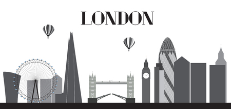 houses of parliament   london: UK, Silhouette London city background. Vector Illustration.