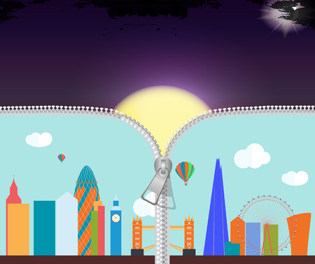 london city: UK, Silhouette London city background. Vector Illustration Illustration