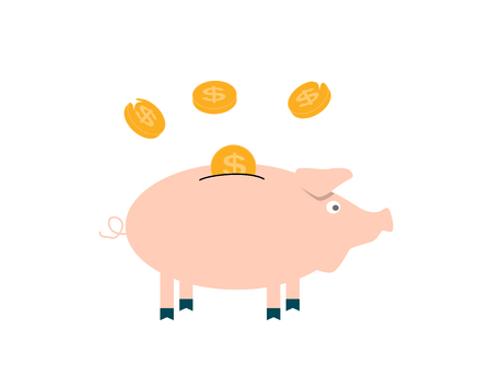Pink Pig piggy bank with falling coins - Contribution to the Future. Illustration