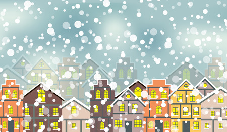 Abstract Christmas and New Year with Fabulous Houses Background. Illustration
