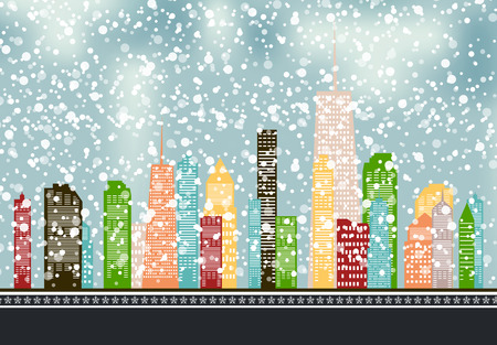 Abstract Christmas and New Year with Fabulous Houses Background.