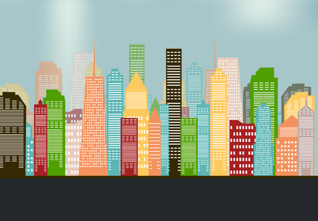 city background: Colorful Silhouette City Background.