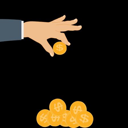 La mano pone la moneda de oro - Contribución al futuro. Ilustración de vector