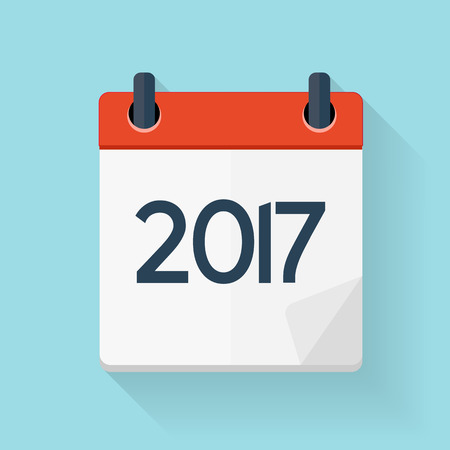2017 New Year Calendar Flat Daily Icon Template. Illustration Emblem. Element of Design for Decoration Office Documents and Applications.  Day, Date, Time, Month and Holiday. Illustration