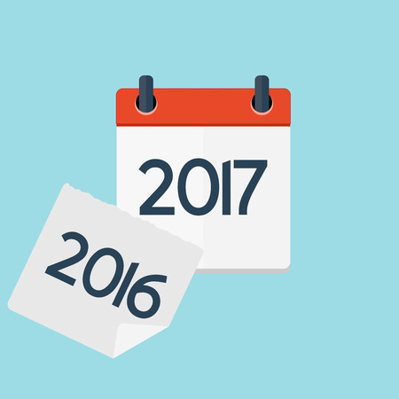 2017 New Year Calendar Flat Daily Icon Template. Illustration Emblem. Element of Design for Decoration Office Documents and Applications. Day, Date, Time, Month and Holiday.
