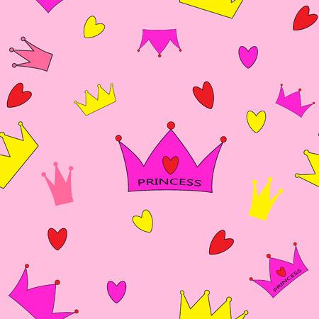 Princess Seamless Pattern Background Vector Illustration.