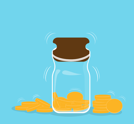 Money box bank with falling gold coins - Contribution to the Future. Vector Illustration. Illustration