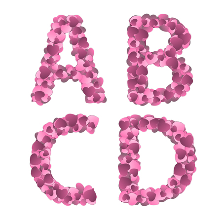 Valentine s Day Alphabet of Hearts Vector Illustration Illustration