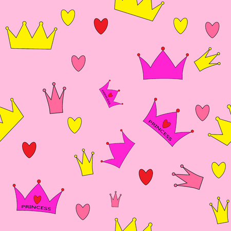 Princess Seamless Pattern Background Vector Illustration Illustration