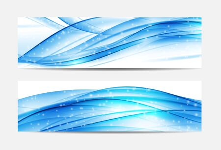 Christmas Snowflakes Website Banner and Card Wave Background. Ve