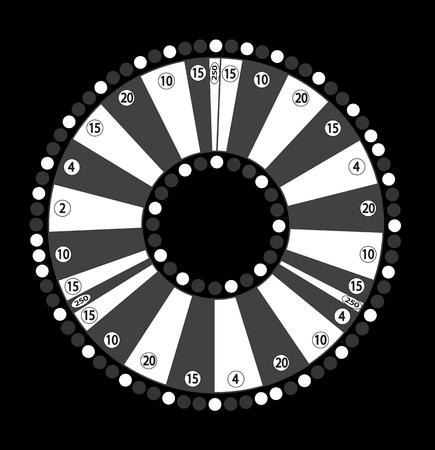 Wheel of Fortune, Game Jackpot on Black Background. Vector Illus Illustration