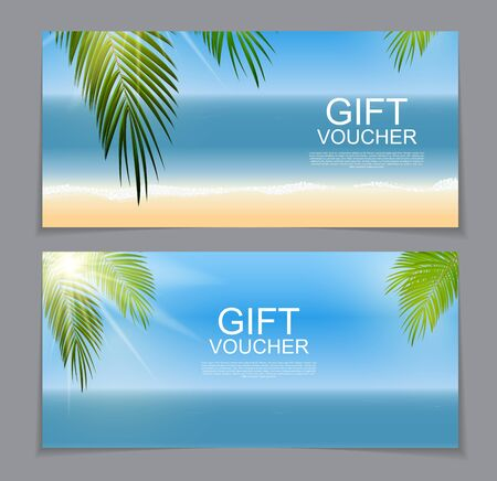 Gift Voucher Template for Summer Natural Background. Discount Co