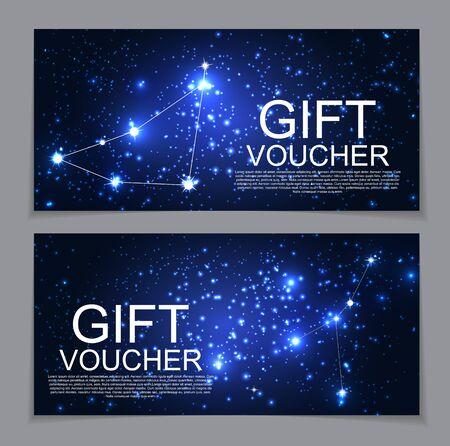 Gift Voucher Template with Set of Symbol Zodiac Sign. Discount C Ilustração