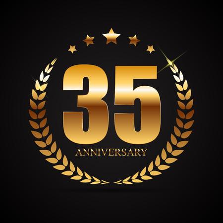 Sjabloon 35 Years Anniversary Vector Illustration