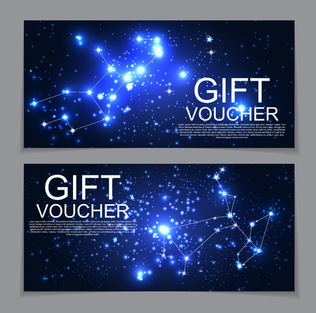 Gift Voucher Template with Set of Symbol Zodiac Sign. Discount