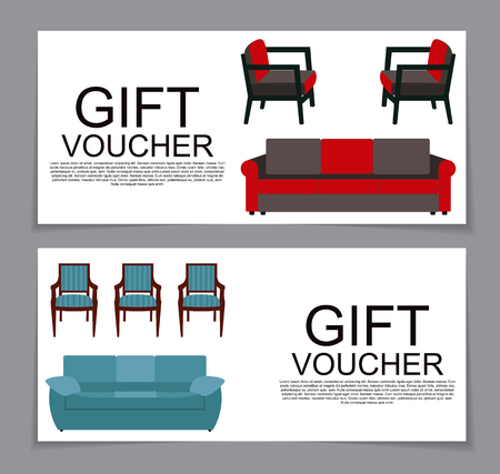variation: Gift Voucher Template with variation of furniture for apartments