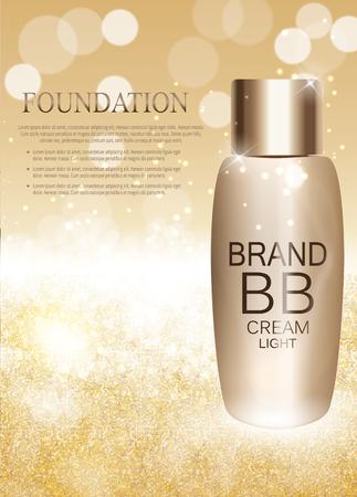 moisturizing: BB Cream Bottle Template for Ads or Magazine Background. 3D Realistic Vector Illustration