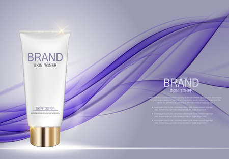 balm: Skin Toner Bottle Template for Ads or Magazine Background. 3D Realistic Vector illustration Illustration