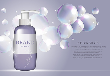 샤워 젤 병 템플릿 광고 또는 잡지 배경. 3D 현실적인 벡터 일러스트 레이션 일러스트