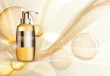 Modèle de bouteille de gel douche pour les annonces ou fond de magazine. Illustration vectorielle réaliste 3D