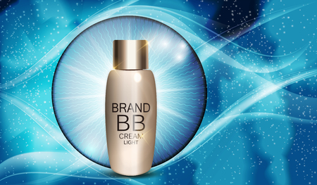 BB Cream Bottle Template for Ads or Magazine Background. 3D Realistic Vector Illustration