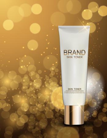 Skin Toner Bottle Rohr Vorlage für Werbung oder Magazine Hintergrund.