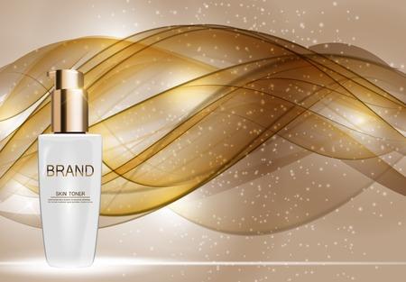 Skin Toner Bottle Tube Template for Ads or Magazine Background. 矢量图像