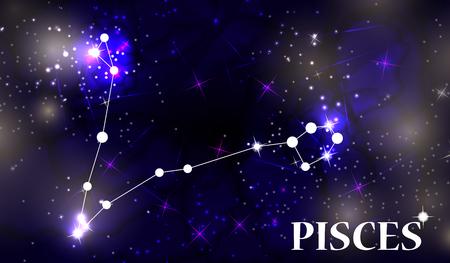 Symbol Pisces Zodiac Sign. Vector Illustration.