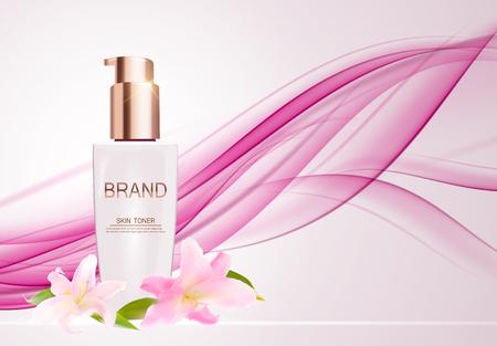 Skin Toner Bottle Tube Template for Ads or Magazine Background. Illustration