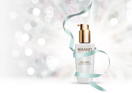balm: Skin Toner Bottle Tube Template for Ads or Magazine Background. Illustration