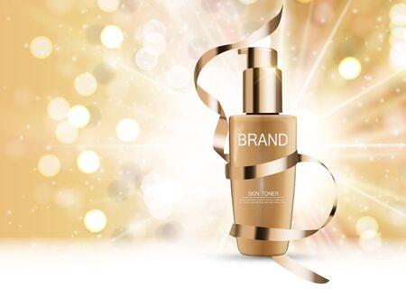 Skin Toner Bottle Tube Template for Ads or Magazine Background.